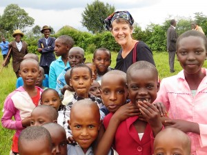Thelma with Congolese students.